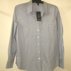 Lauren Blue/White Striped Button Down Long Sleeve
